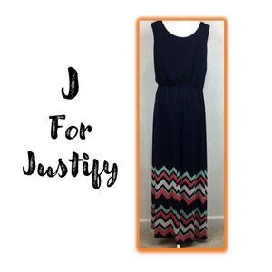 J for Justify Navy Maxi Dress, Size 3X